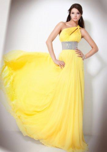 صورة صور فساتين اصفر , اناقتك مع لون الشمس