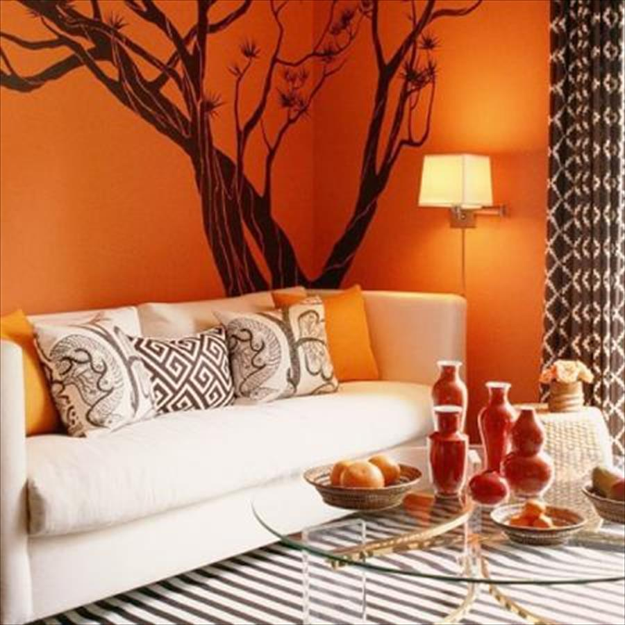 صور ديكورات باللون البرتقالي , اثاث بلون الشمس