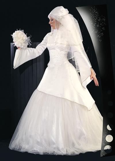 صوره كونى راقيقه بحجابك يوم زفافك اروع تصميمات فساتين المحجبات , اطلالات محجبات في الفرح