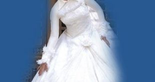 كونى راقيقه بحجابك يوم زفافك اروع تصميمات فساتين المحجبات , اطلالات محجبات في الفرح