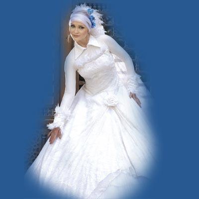 صور كونى راقيقه بحجابك يوم زفافك اروع تصميمات فساتين المحجبات , اطلالات محجبات في الفرح