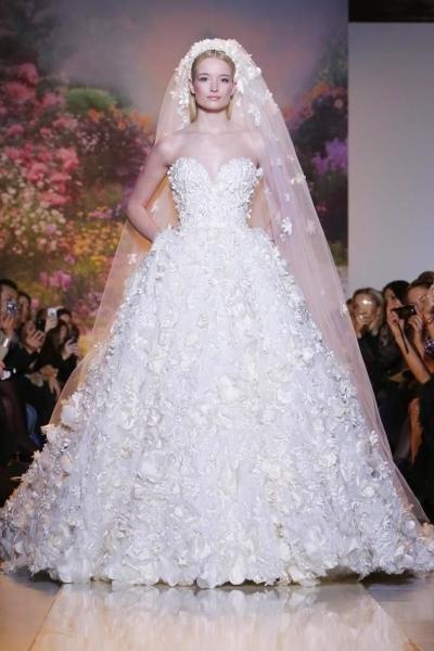 صورة فساتين زفاف زهير مراد , فخامة الابيض
