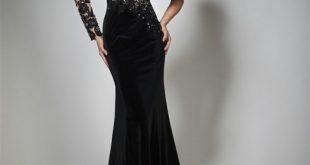 صوره موديلات فساتين مخمل جديده , فستان بالوان جميلة