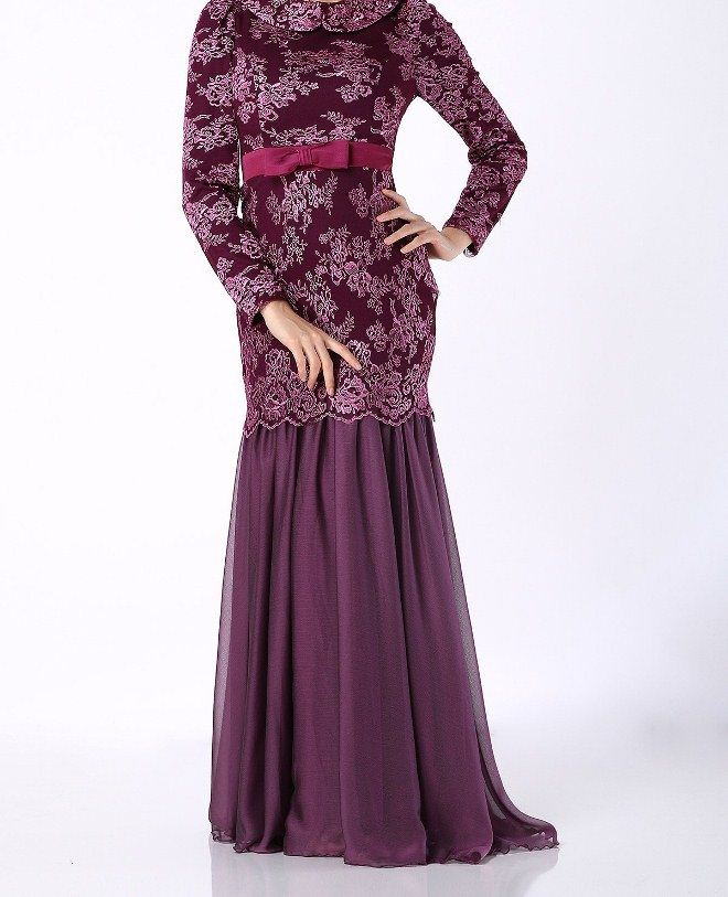 بالصور فساتين دانتيل كم طويل انستقرام , فستان اخر موضة من الدانتيل للمحجبات 3087 3