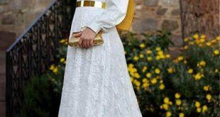فساتين دانتيل كم طويل انستقرام , فستان اخر موضة من الدانتيل للمحجبات