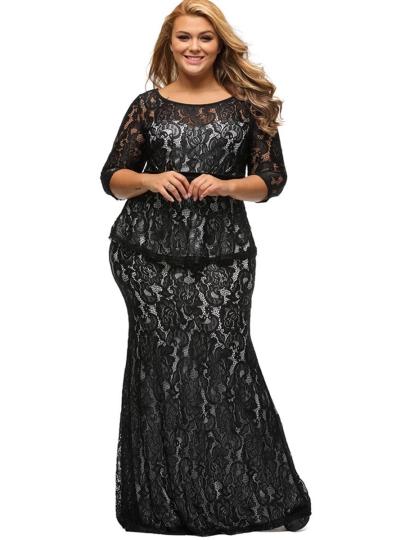 بالصور فساتين دانتيل كم طويل انستقرام , فستان اخر موضة من الدانتيل للمحجبات