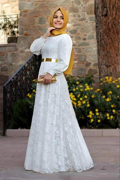 صوره فساتين دانتيل كم طويل انستقرام , فستان اخر موضة من الدانتيل للمحجبات