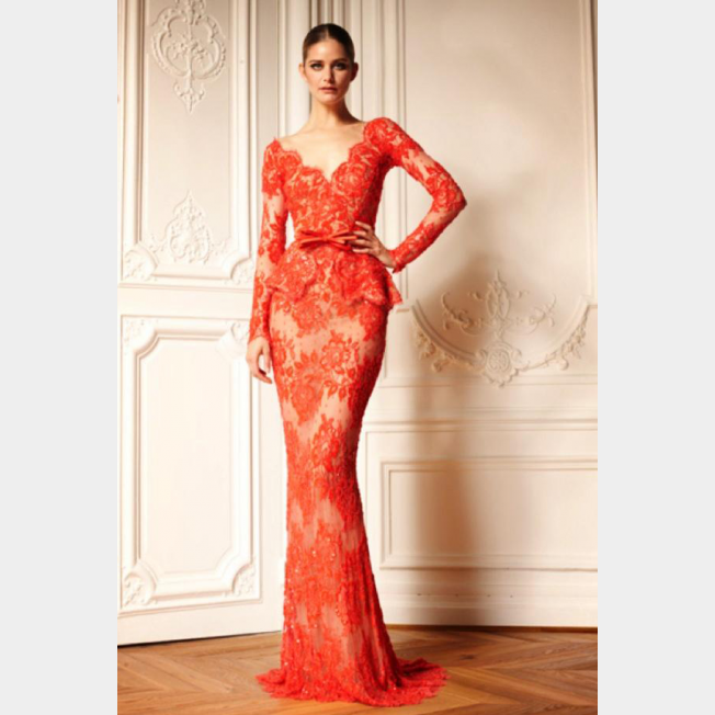 بالصور فساتين دانتيل كم طويل انستقرام , فستان اخر موضة من الدانتيل للمحجبات 3087
