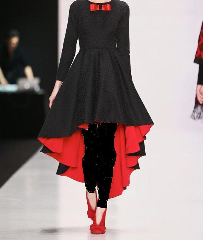 صورة فساتين قصيره من قدام وطويل من وراء , موديل فستان يجنن