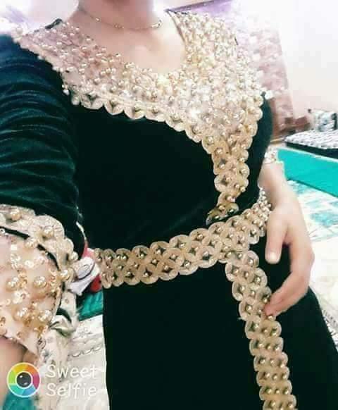 صوره فساتين جزائرية قطيفة 2019 , صورة اجمل فستان