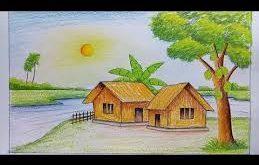 صوره رسومات مناظر طبيعية سهله الرسم للاطفال , ابتكار اطفال