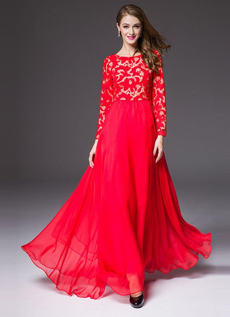 بالصور فساتين دانتيل طويله , اروع الفساتين الطويلة للبنات 1002 4
