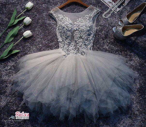 بالصور فساتين قصيرة منفوشة , اجمل فستان منقوش 1078 7