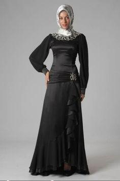 بالصور فساتين سوداء , فستان سورية باللون الاسود 1101 5