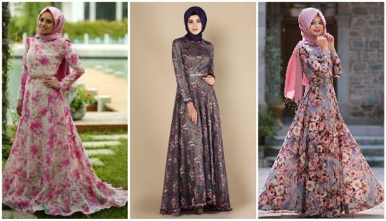 صوره فساتين شيفون مشجر , تشكيلة لاجمل الفساتين المشجرة