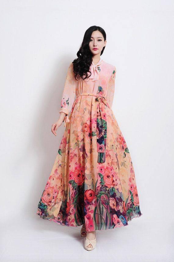 بالصور فساتين شيفون مشجر , تشكيلة لاجمل الفساتين المشجرة 1117 7