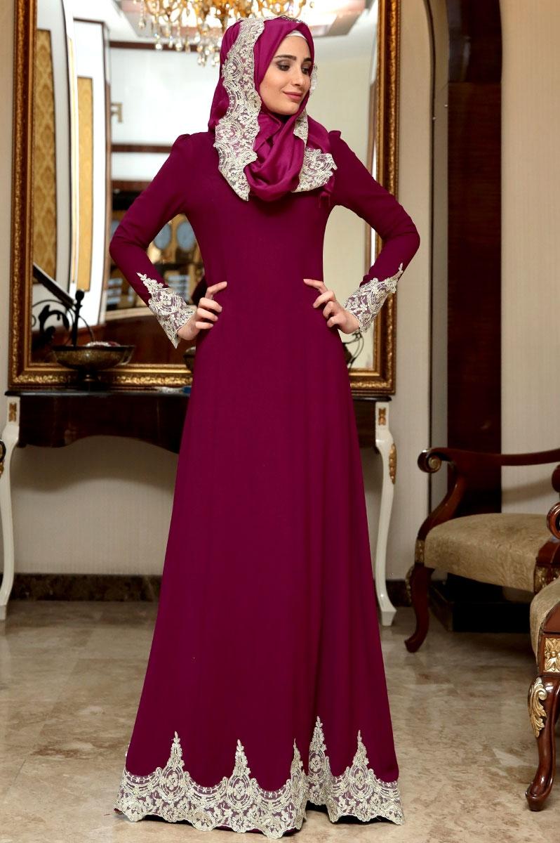بالصور فساتين سهرة راقية , اروع فستان للسهرات للمحجبات 1139 5