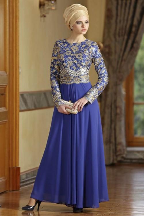 بالصور فساتين سهرة راقية , اروع فستان للسهرات للمحجبات 1139
