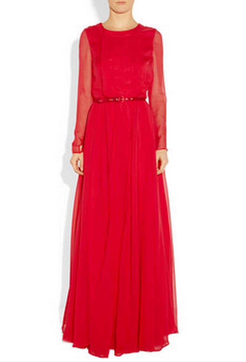 صورة فساتين سهره كم طويل , تشكيلة من الفساتين الرقيقة