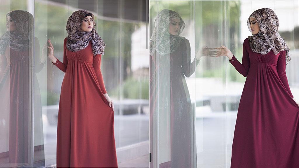 بالصور فساتين هاديه , تشكيلة من الفساتين الرقيقة للمحجبات 1250 3