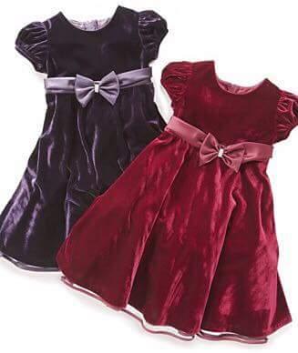صوره فساتين اطفال قطيفه , اجمل فستان قطيفه اطفال
