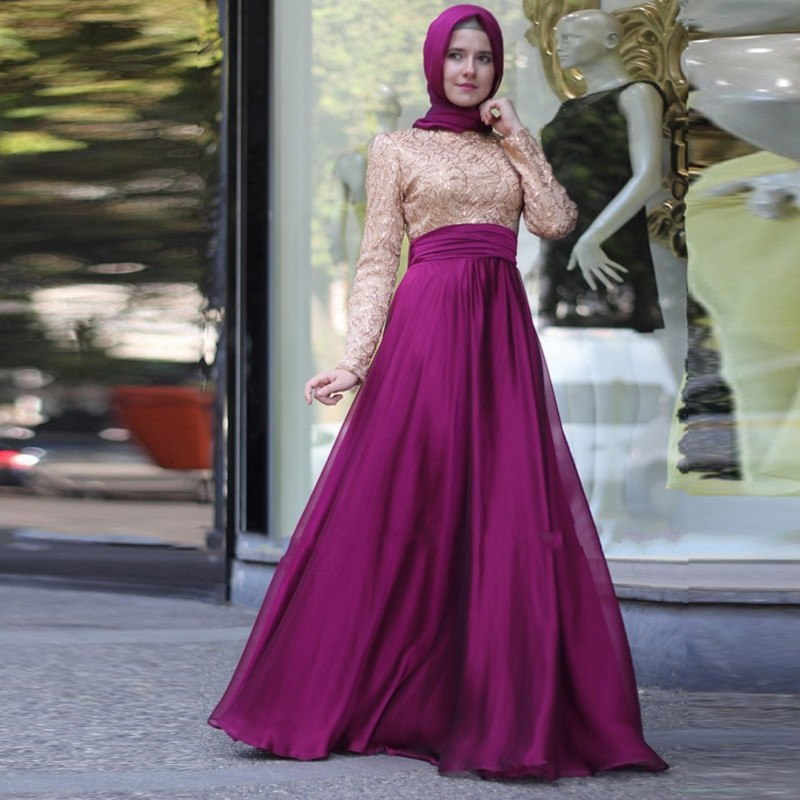 بالصور فساتين ناعمه طويله , اروع فستان رقيق للمحجبات 1280 3