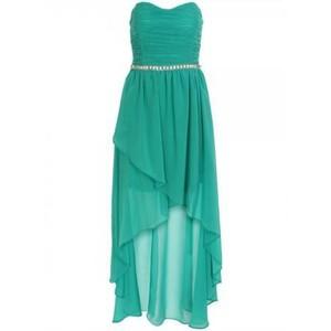 فساتين شيفون قصيرة من الامام وطويلة من الخلف , موديلات فستان شيفون