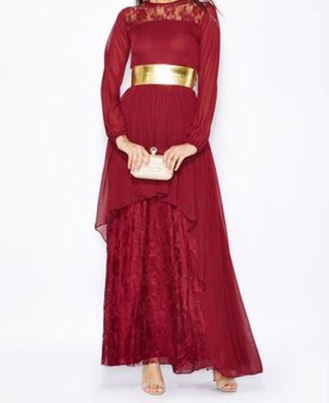بالصور فساتين شيفون قصيرة من الامام وطويلة من الخلف , موديلات فستان شيفون 3113 5