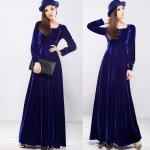 فساتين مخمل كم طويل , فستان مخمل بكم طويل انيق
