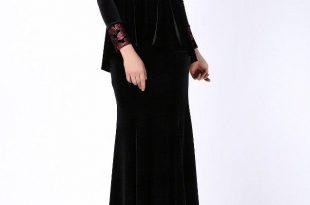 صور موديلات فساتين مخمل طويل , اروع فستان مخملى