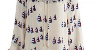 صورة بلوزات شيفون مشجرة 2019 , موديلات قمصان مرسومه