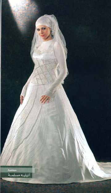صورة احدث فساتين الزفاف للمحجبات , فساتين مناسبات للمحجبات 914 7