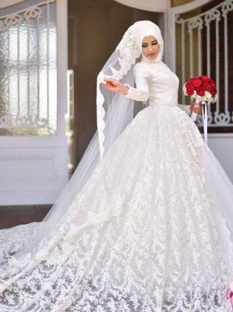 صورة احدث فساتين الزفاف للمحجبات , فساتين مناسبات للمحجبات 914