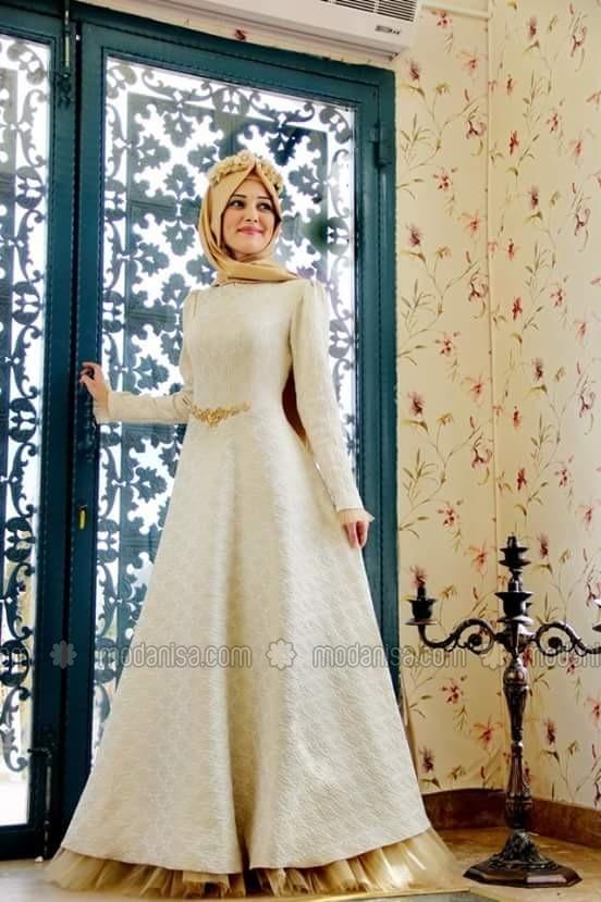بالصور فساتين سهرة للمحجبات , اجمل فستان للبنات المحجبة 933 3
