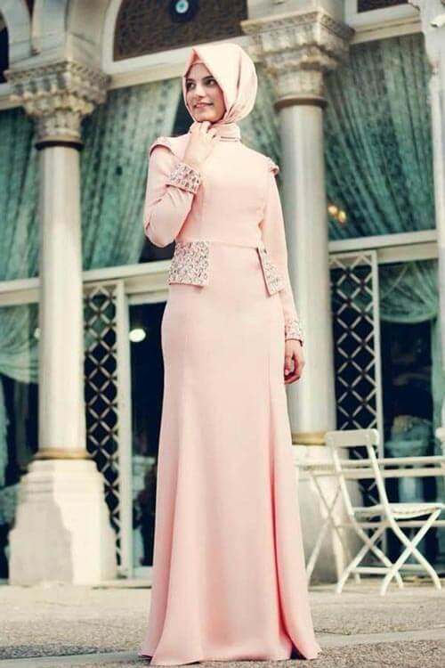 بالصور فساتين سهرة للمحجبات , اجمل فستان للبنات المحجبة 933 5