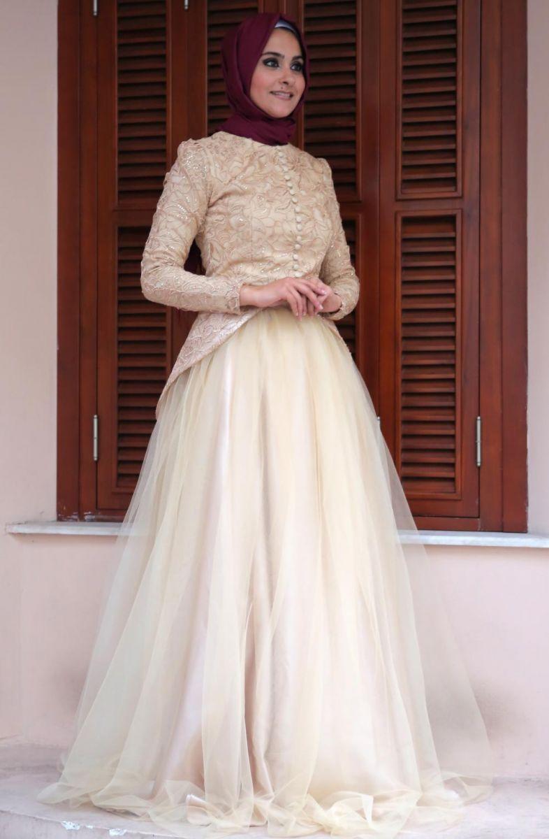 بالصور فساتين سهرة للمحجبات , اجمل فستان للبنات المحجبة 933 7