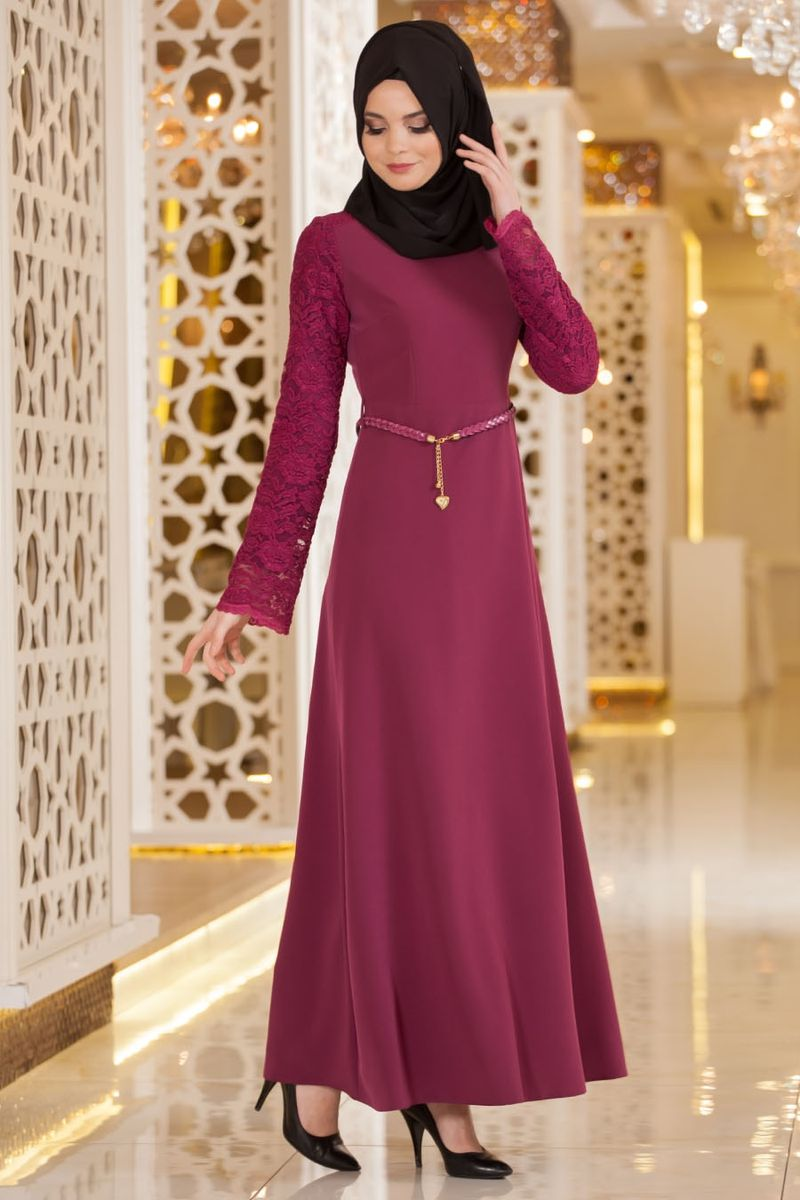 بالصور فساتين سهرة للمحجبات , اجمل فستان للبنات المحجبة 933 8