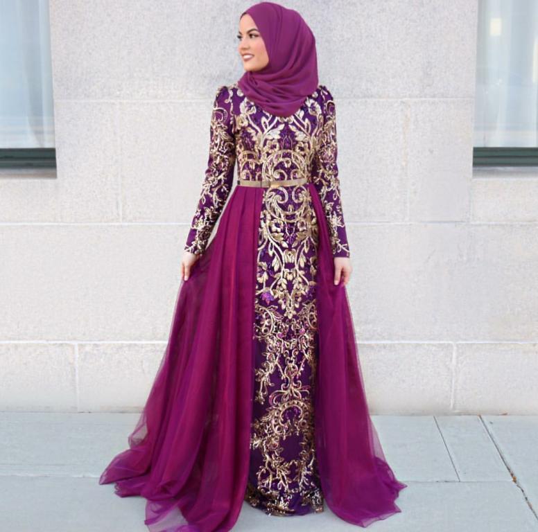 بالصور فساتين سهرة للمحجبات , اجمل فستان للبنات المحجبة 933