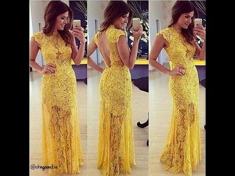 صوره فساتين صفراء , ملابس سواريه باللون الاصفر