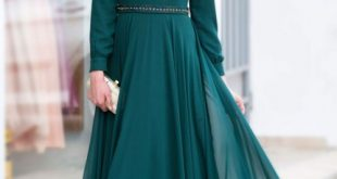 صورة فساتين طويلة للمحجبات , فستان طويل لكل بنت محجبة