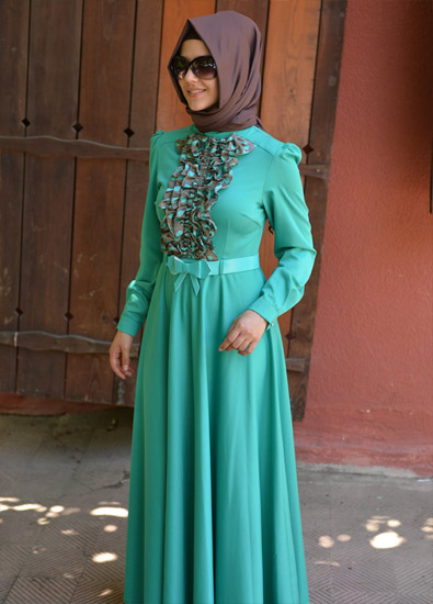 بالصور فساتين طويلة للمحجبات , فستان طويل لكل بنت محجبة 966 8