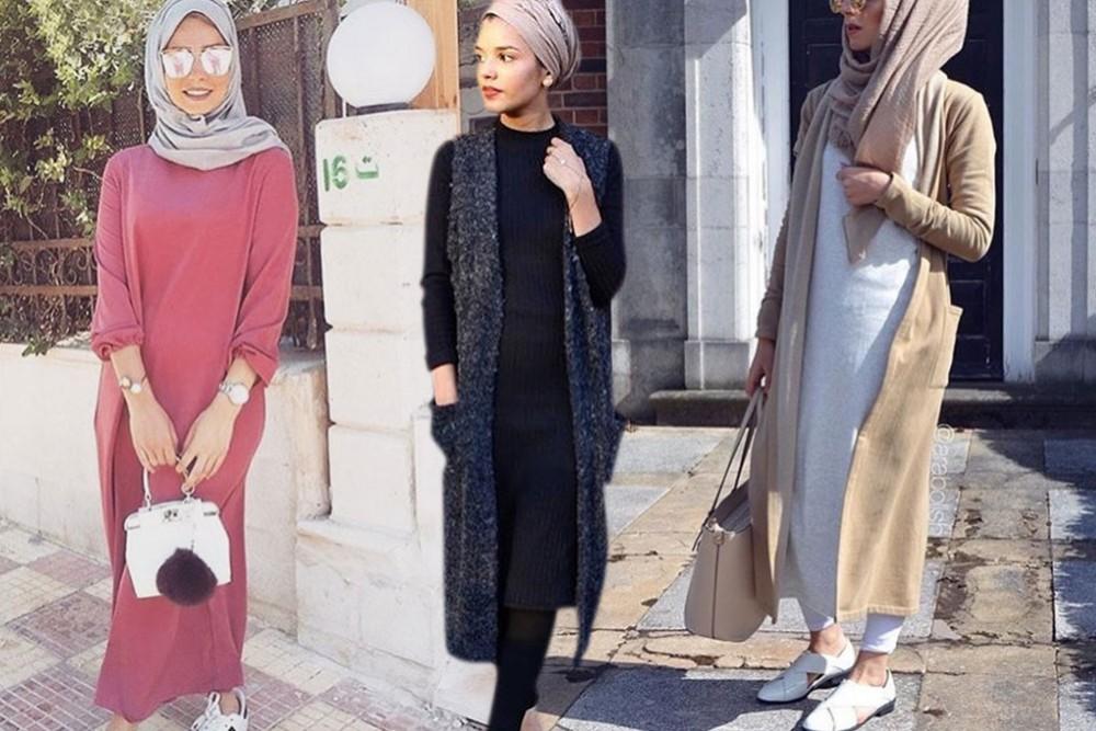 بالصور فساتين طويلة للمحجبات , فستان طويل لكل بنت محجبة 966 9