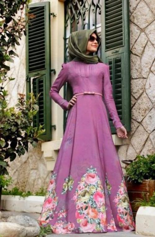 صورة فساتين تركية للمحجبات , اجمل موديلات لفستان تركي روعة