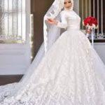 فساتين زفاف للمحجبات , احلي تفاصيل الفساتين