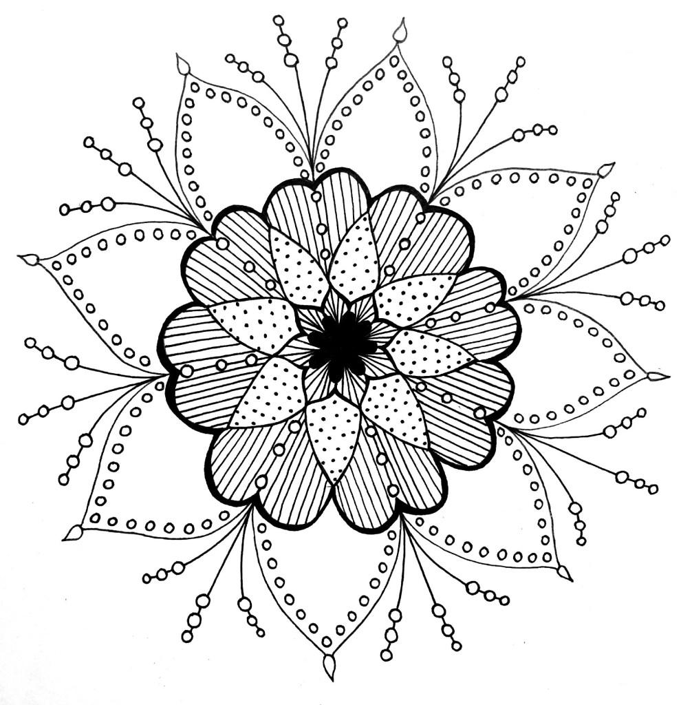 رسم زخرفة نباتية بسيطة جدا